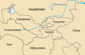 Map of the route of the Central Asia – China g...