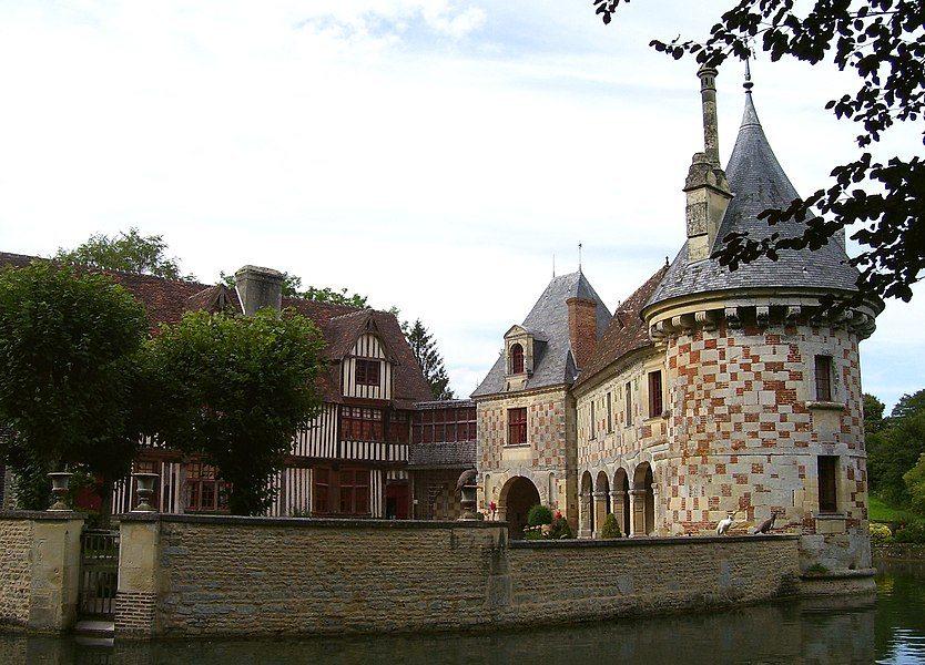 The Château de Saint Germain de Livet consists of two different parts. The timber framing part was built at the end of the 15th century. The part of stone and green glazed bricks was built at the end of the 16th century. It's situated in Saint-Germain-de-Livet in the département Calvados in the Basse-Normandie in France.