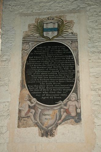 Chalgrove - St. Mary the Virgin church: painted monument to Robert Quatremaine (died 1697)