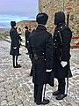Changing of the guard (HMK garde) at Akershus fortress, Oslo, Norway. Vinter uniforms. 2017-11-30 g.jpg