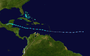 Tropical Storm Chantal (2001) - Image: Chantal 2001 track