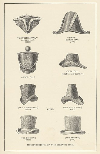 Hat - A collection of 18th and 19th century men's beaver felt hats