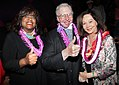Chaz Hammel-Smith, Roger Ebert, and Nancy Kwan at the Hawaii International Film Festival in October 2010.jpg