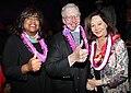 Chaz Hammel-Smith, Roger Ebert, and Nancy Kwan at the Hawaii International Film Festival in October 2010.jpg