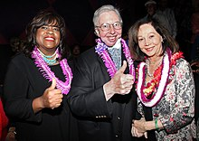 Ebert And His Wife Chaz Hammelsmith Ebert Left Giving The Thumbs Up To Nancy Kwan Right At The Hawaii International Film Festival On October 20 2010
