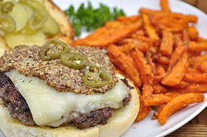 Fried sweet potato - A cheeseburger and sweet potato fries