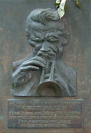 Chet Baker - Plaque at the Hotel Prins Hendrik, in Amsterdam