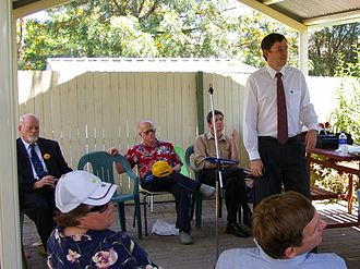 Division of Chifley - Four of the candidates who stood for election for the Division of Chifley at the 2007 federal election address electors at a public meeting in Shalvey on 11 November 2007. They are (seated at rear) Roger Price (ALP), Dave Vincent (CDP), James Cogan (Socialist) and (standing) John Forrester (Greens)