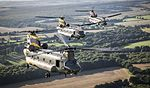 Chinooks celebrate the 100th anniversaries of 18(B) and 27 Squadron from RAF Odiham and 28 Squadron from RAF Benson. MOD 45160392.jpg