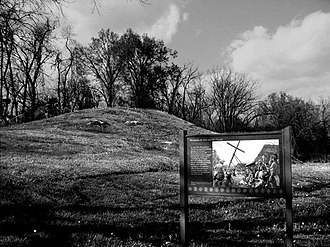 Parkin Archeological State Park - Main mound and its interpretative sign at the Parkin Site.