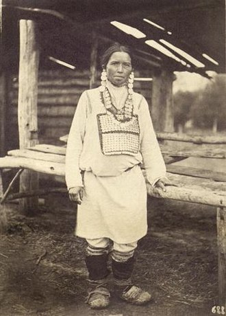 Chuvash people - Chuvash woman from Ulyanovsk Oblast, mid-to-late 19th century.