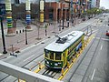 CityLynx Gold Line Birney car 93 laying over at CTC-Arena, viewed from Lynx light rail station (2016).jpg