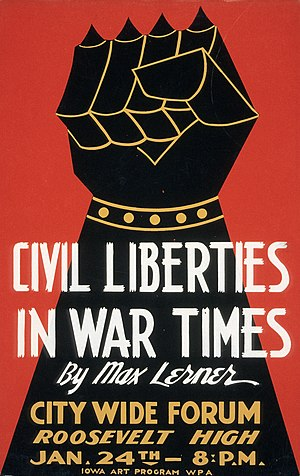 Raised fist - Image: Civil Liberties in War Times by Max Lerner 1940