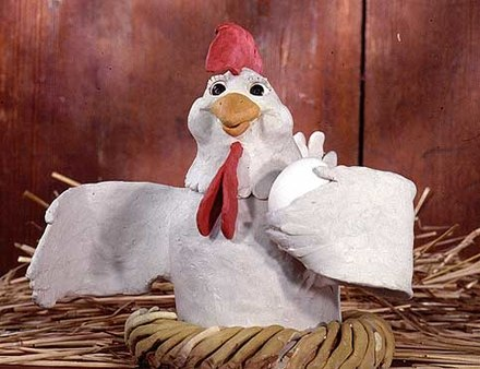 A clay model of a chicken, designed to be used in a clay stop motion animation. Claychick.jpg