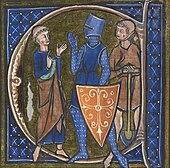 Enluminure représentant un chevalier entièrement recouvert d'une cote de mailles avec un heaume et un bouclier entouré de deux hommes, l'un en habits de moine et l'autre vêtu d'une tunique et tenant une pelle.