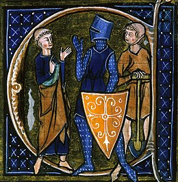 Detail from an illuminated book, with three figures shown talking, a monk on the left, a knight in armour in the middle and a peasant with a spade on the right. Y el Caballero se enojó con los plebeyos