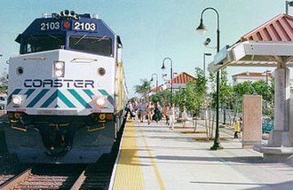 Encinitas station - A Coaster train at Encinitas station
