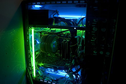 A standard computer case fitted with blue and green cold-cathode tubes Cold Cathodes.jpg
