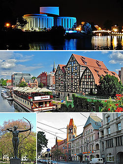 Top: Opera Nova Middle: The Brda River and the town granaries Bottom: Statue of 'The Archeress', Jagiellońska Street.