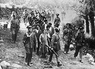 Revolution of 1934 - Civil Guard forces with prisoners in Brañosera