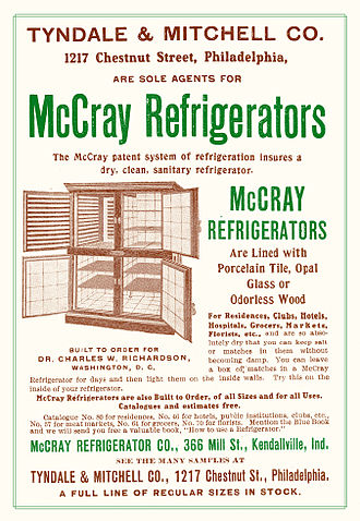 Refrigerator - McCray pre-electric home refrigerator ad (1905) This company, founded in 1887, is still in business.