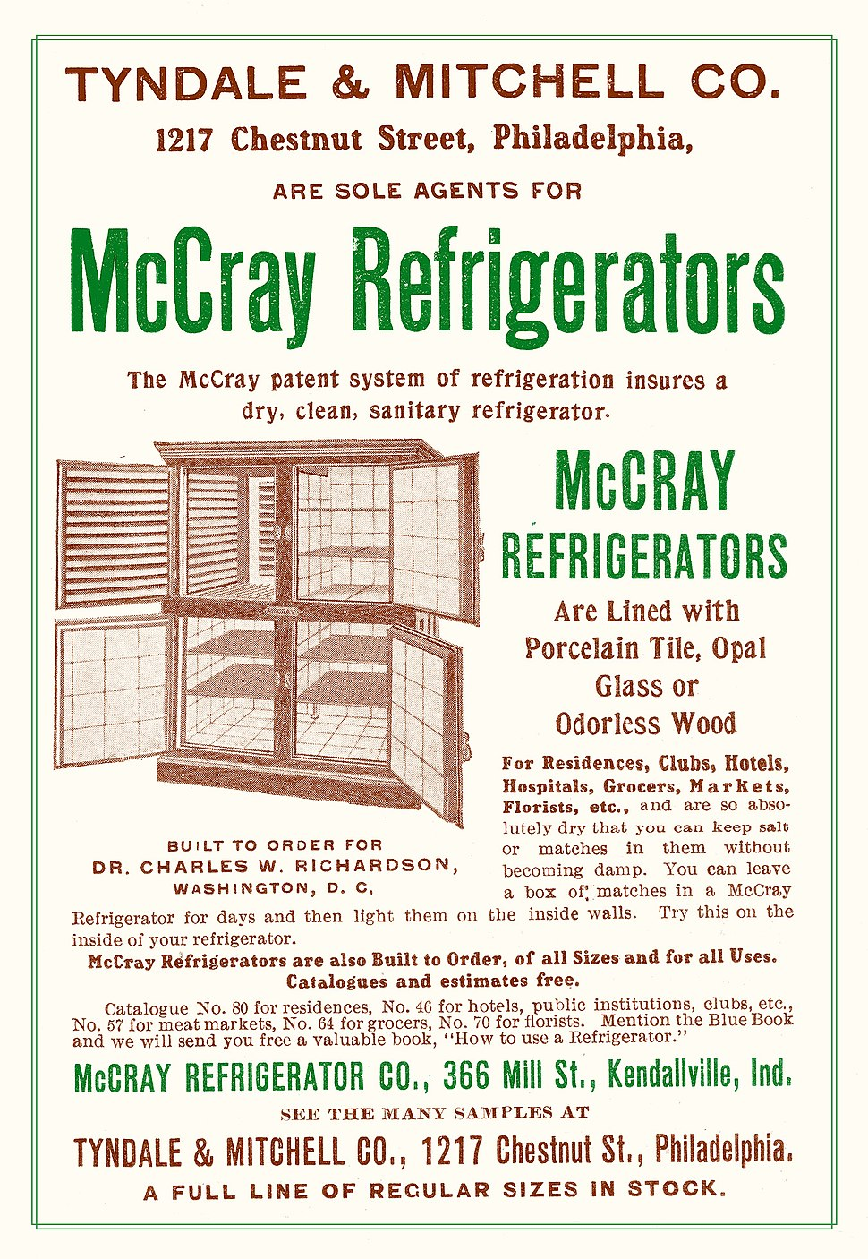 Commercial Refrigerator Advertisement 1905