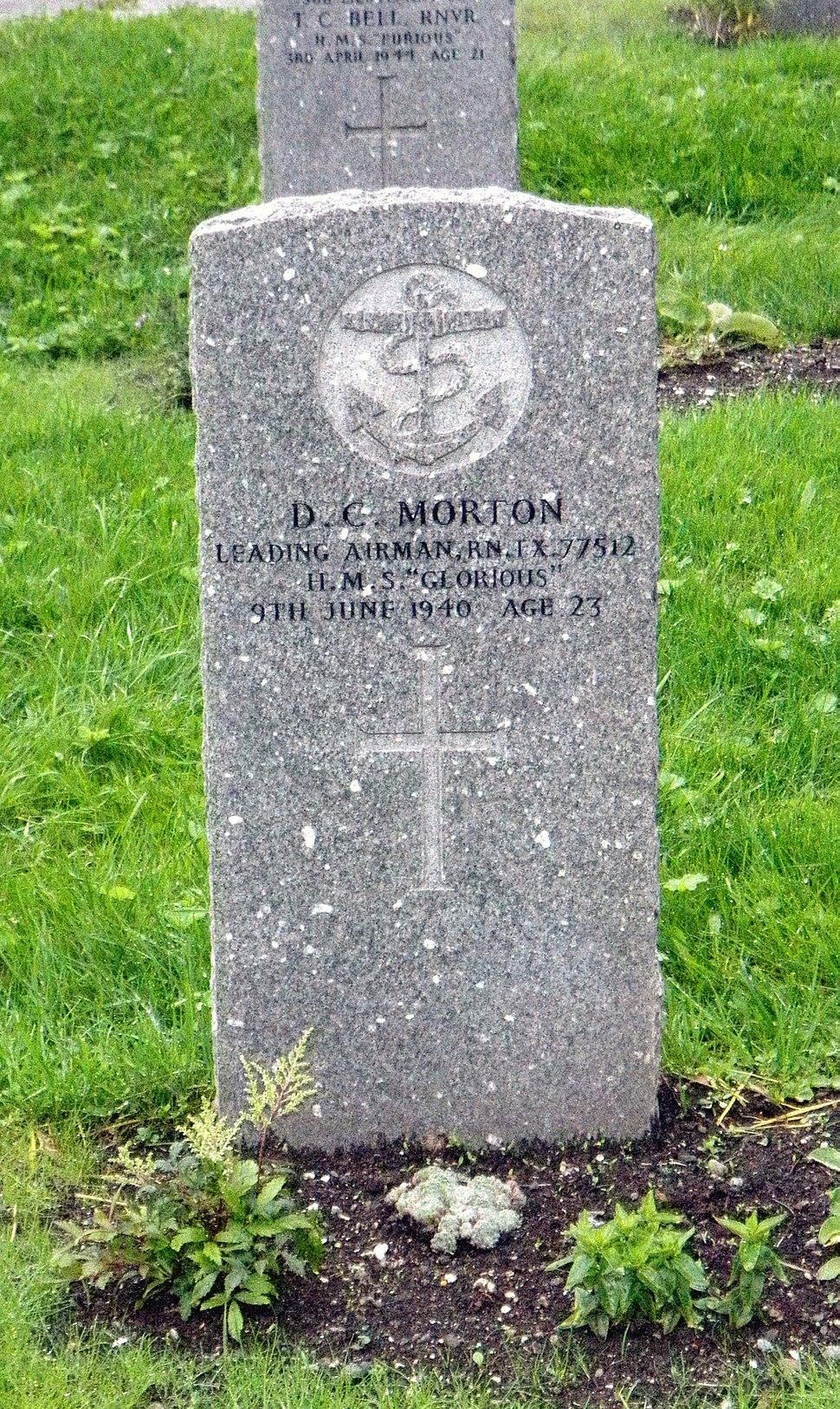 Commonwealth War Graves gravestone of D. C. Morton in Tromsø