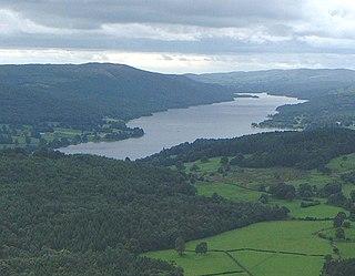 Coniston Water lake in Cumbria, England