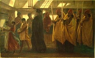 Coptology - 'Coptic Baptismal Procession' by English Pre-Raphaelite painter Simeon Solomon, 1865.