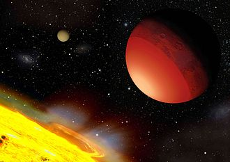 CoRoT - Artist's impression of Corot-7b, the first rocky Super-Earth ever discovered thanks to a good estimate of its size and mass and therefore its density. The image shows the ocean of lava that must exist on the hemisphere that faces the star. Author: Fabien Catalano