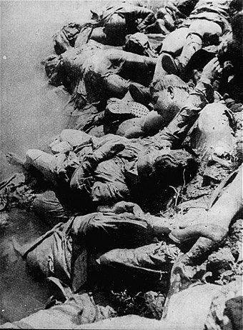 Jasenovac victims' bodies left without burial on the river Sava near Sisak, May 1945 Corpses in the Sava river, Jasenovac camp, 1945.jpg