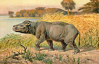 Coryphodon - Restoration by Heinrich Harder