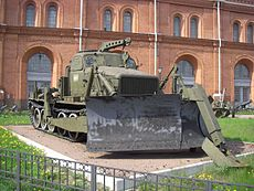 Counter Obstacle Vehicle BAT-M on permanent display in the courtyard of Military-historical Museum of Artillery, Engineer and Signal Corps in Saint-Petersburg, Russia.jpg