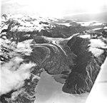 Crillon Glacier, terminus of valley glacier with large medial moraines, August 27, 1969 (GLACIERS 5339).jpg