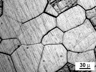 Grain boundary - Micrograph of a polycrystalline metal; grain boundaries evidenced by acid etching.