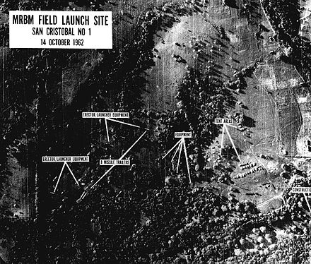 One of the first U-2 reconnaissance images of missile bases under construction shown to President Kennedy on the morning of October 16, 1962 Cuba Missiles Crisis U-2 photo.jpg