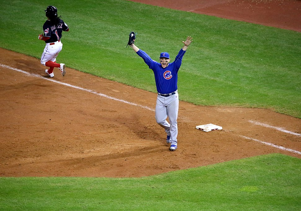 Cubs first baseman Anthony Rizzo celebrates the final out of the 2016 World Series. (30709978996)