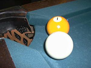 Billiard table - Image: Cue Ball One Ball Near Pocket