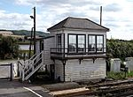 Cuxton railway station, signal box, EG01, August 2013.JPG