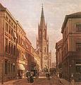 Düsseldorf, Königstraße mit Johanneskirche, um 1890.jpg
