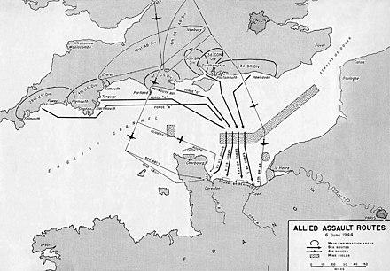 Piano schematico d'invasione della Normandia, con i movimenti della flotta diretta alle spiagge e delle forze aviotrasportate