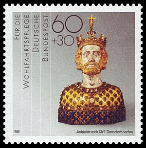 Bust of Charlemagne - Charity stamp of Deutsche Bundespost, 1988