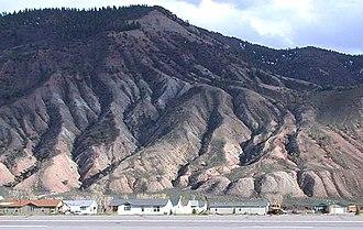 Dotsero, Colorado - Houses in Dotsero along the south side of Interstate 70, along the Eagle River