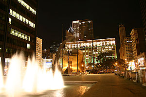 Richard J. Daley Center - A view of the plaza at night.