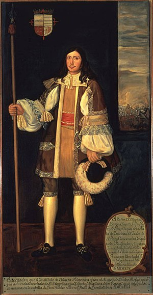 Diego de Vargas - Oil on canvas portrait of Diego de Vargas by Julio Barrera, date unknown, from the collection of the Palace of the Governors