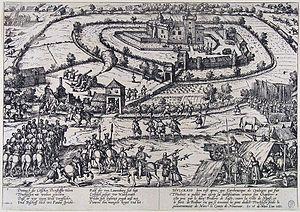 Hülchrath - The destruction of Hülchrath in 1583 (Frans Hogenberg)