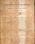 A texasi függetlenségi nyilatkozat faximiléje