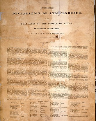 Texas Declaration of Independence - 1836 facsimile of the Texas Declaration of Independence