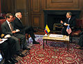 Defense.gov News Photo 100415-F-6655M-012 - Secretary of Defense Robert M. Gates and Colombian President Alvaro talk in the Presidential Palace in Bogota, Colombia, on April 15, 2010.jpg