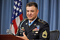 Defense.gov News Photo 110713-D-WQ296-108 - Medal of Honor recipient Army Sgt. 1st Class Leroy Petry describes to reporters the combat action which occurred near Paktya Afghanistan on May.jpg